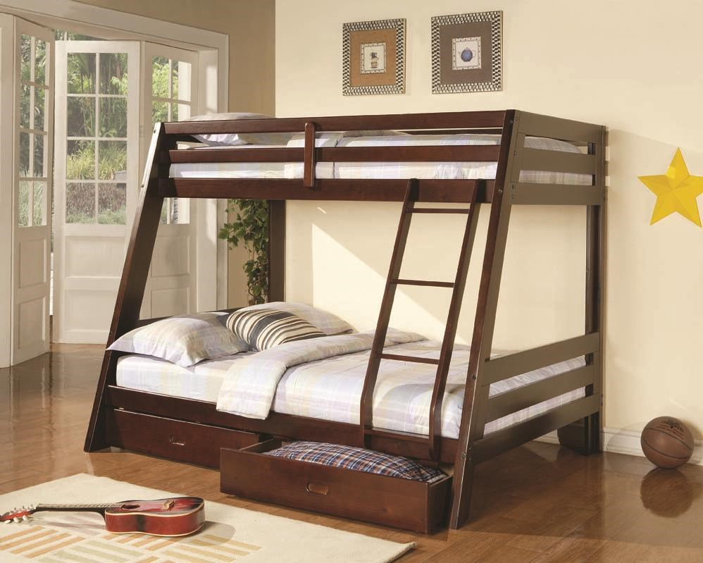 Coaster Bunks 460228 Twin-over-Full Bunk Bed with 2 Storage ...