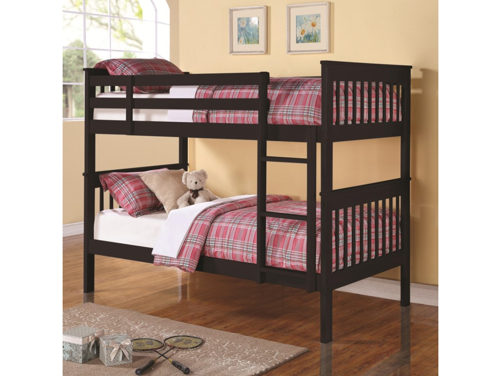 84915fe7d82ac Coaster Bunks Twin Over Twin Bunk Bed with Full Length Guard Rails ...