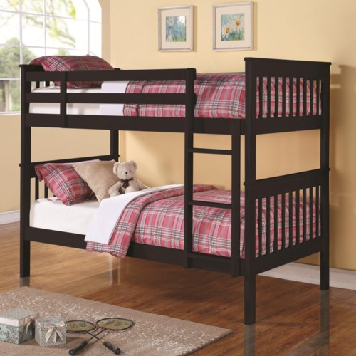 Awesome Coaster Bunks Twin Over Twin Bunk Bed with Full Length Guard Rails Top Search - Model Of bunk bed guard rail Beautiful