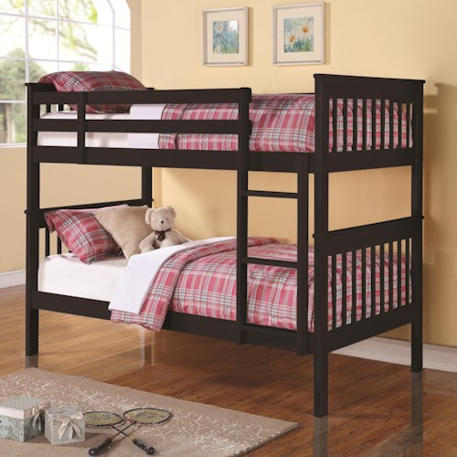Coaster Bunks Twin Over Twin Bunk Bed With Full Length Guard Rails