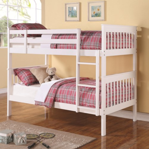 Beautiful Coaster Bunks Twin Over Twin Bunk Bed with Full Length Guard Rails Picture - Cool bunk bed guard rail Top Search