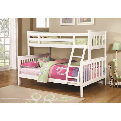 Coaster Bunks Traditional Twin Over Full Bunk Bed Standard Furniture Bunk Beds Birmingham