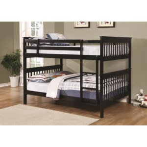 Coaster Bunks Traditional Full Over Full Bunk Bed A1 Furniture Mattress Bunk Beds