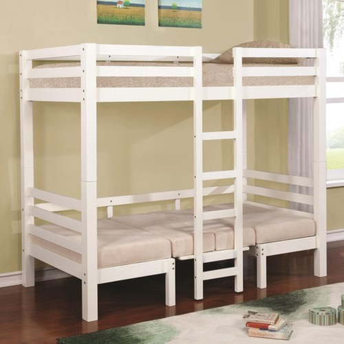 Twin Over Twin Convertible Loft Bed Bunks By Coaster Wilcox