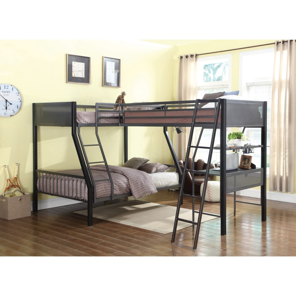 Coaster Bunks Metal Twin Over Full Loft Bunk Bed With Loft Dunk