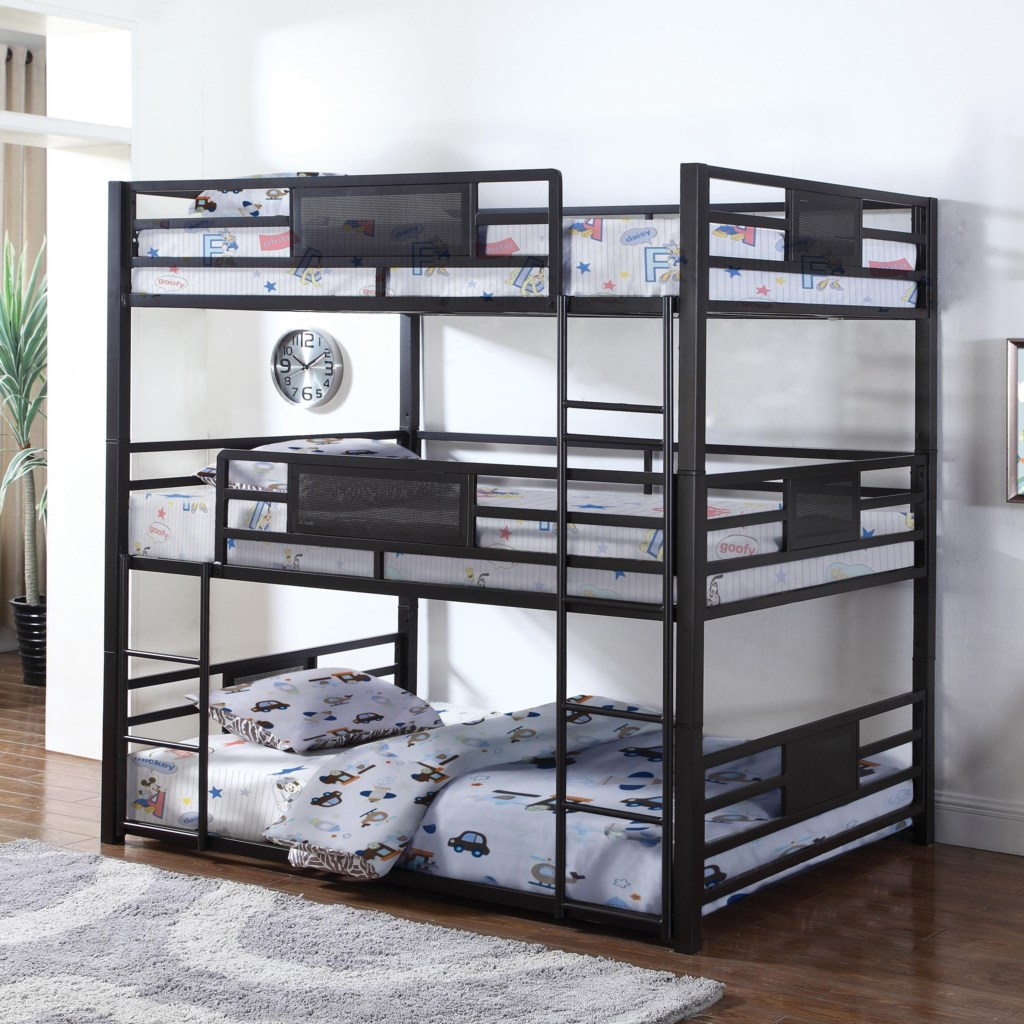 Coaster Bunks Metal Full Triple Bunk Value City Furniture Bunk Beds