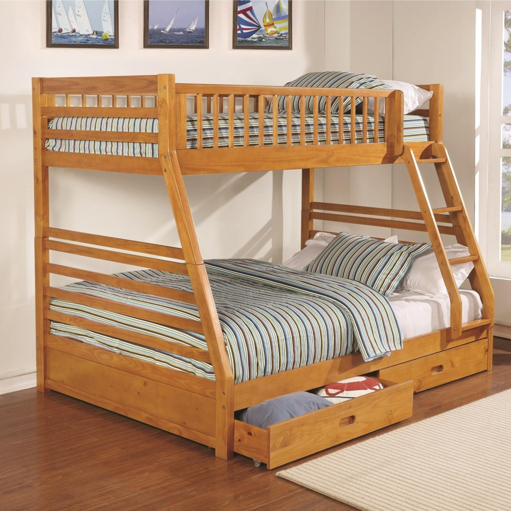 Coaster Bunks 461183 Twin Over Full Bunk Bed With 2 Drawers And