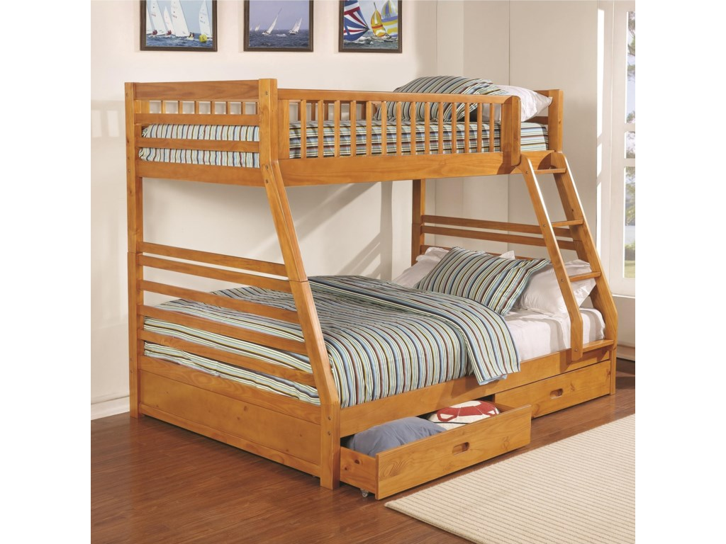 3eaf37f1b5d8a Coaster Bunks Twin over Full Bunk Bed with 2 Drawers and Attached Ladder