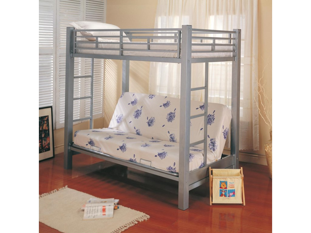Bunks Twin Over Futon Metal Bunk Bed With Mattress By Coaster