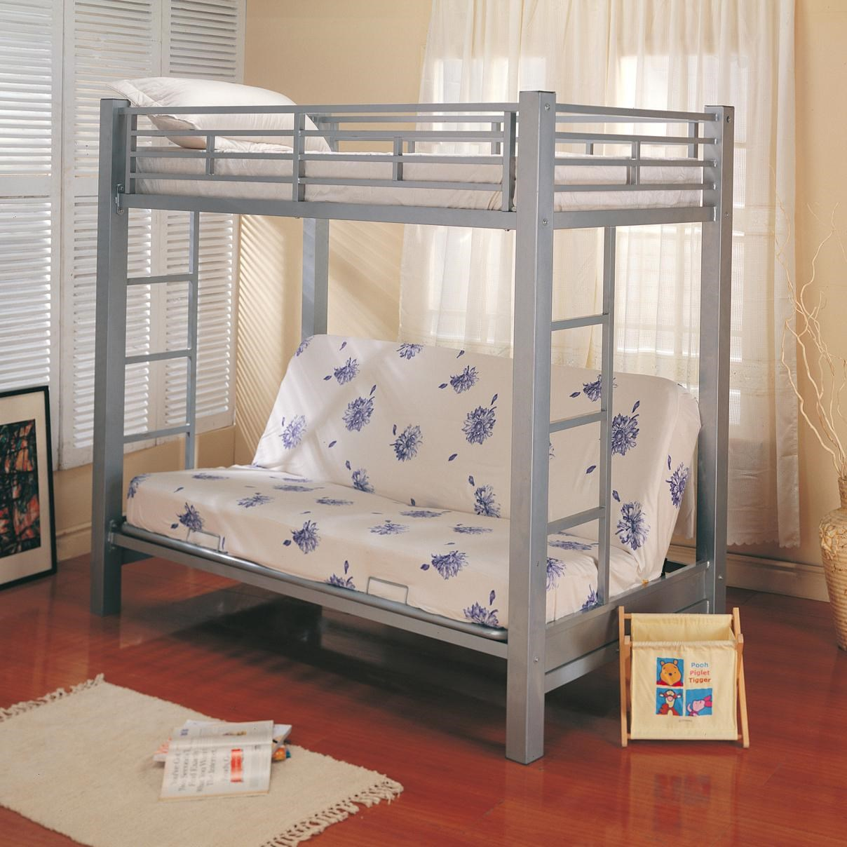 Coaster Bunks Twin Over Futon Metal Bunk Bed with Futon Mattress