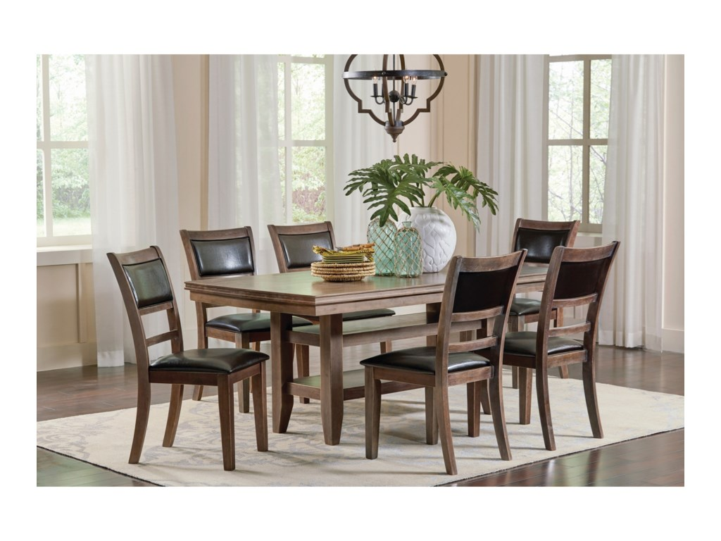 Coaster Bustamante 7 Piece Dining Table Set With 2 Open Shelves