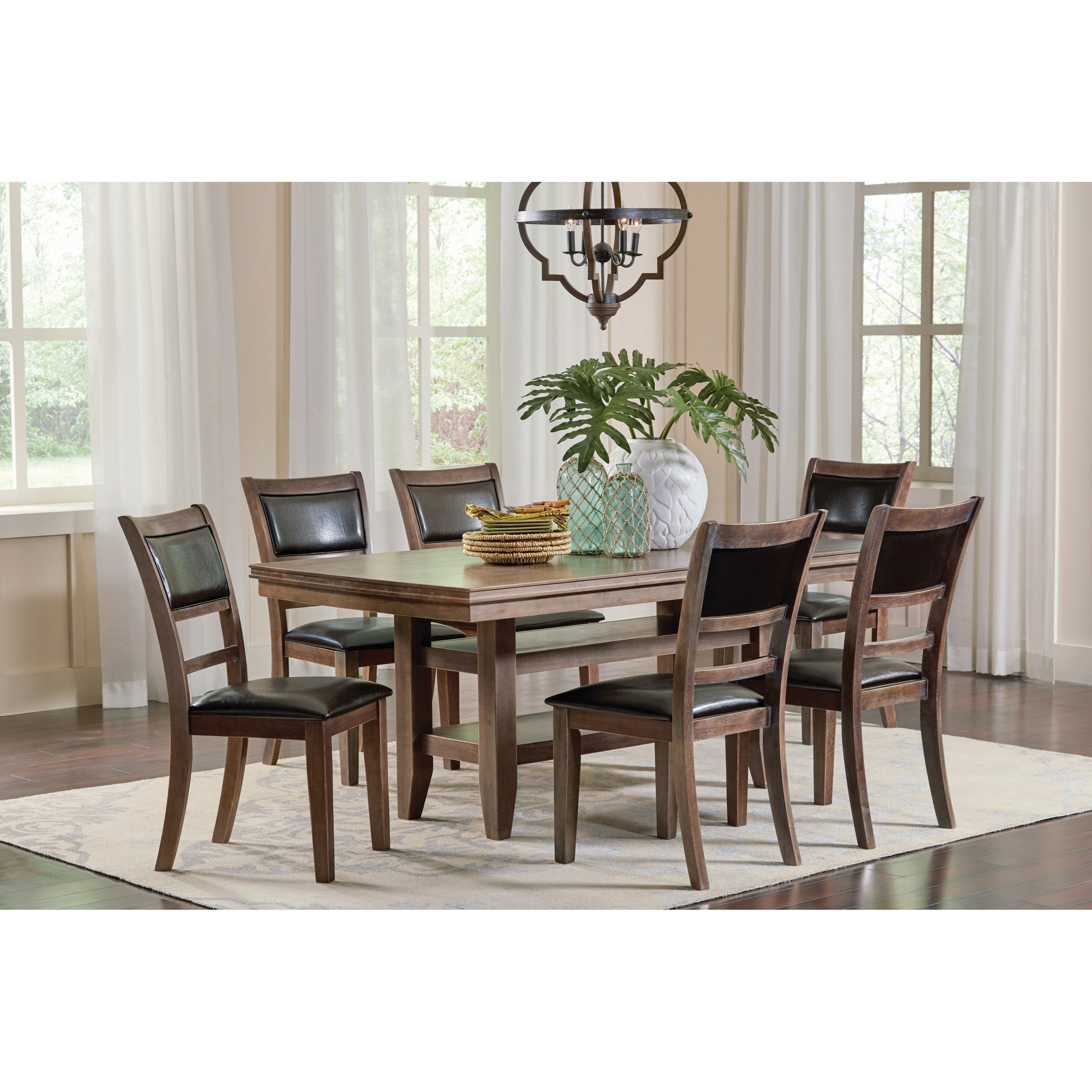 Coaster Bustamante 7 Piece Dining Table Set with 2 Open Shelves  sc 1 st  Prime Brothers Furniture & Coaster Bustamante 7 Piece Dining Table Set with 2 Open Shelves ...