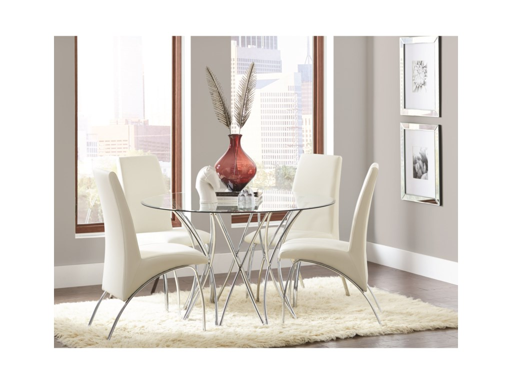 Coaster Cabianca Contemporary Dining Set with Glass Top ...