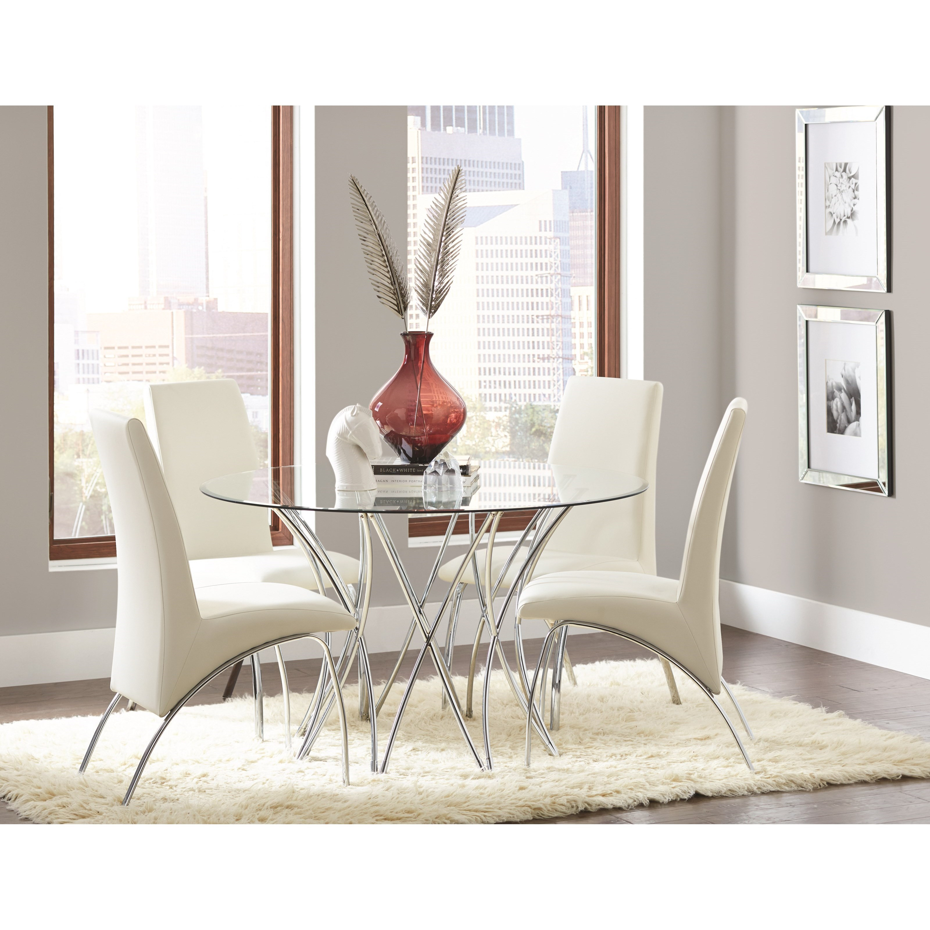 Coaster Cabianca 106921+CB48RD+4x121572 Contemporary Dining Set With Glass  Top Table | Dunk U0026 Bright Furniture | Dining 5 Piece Sets