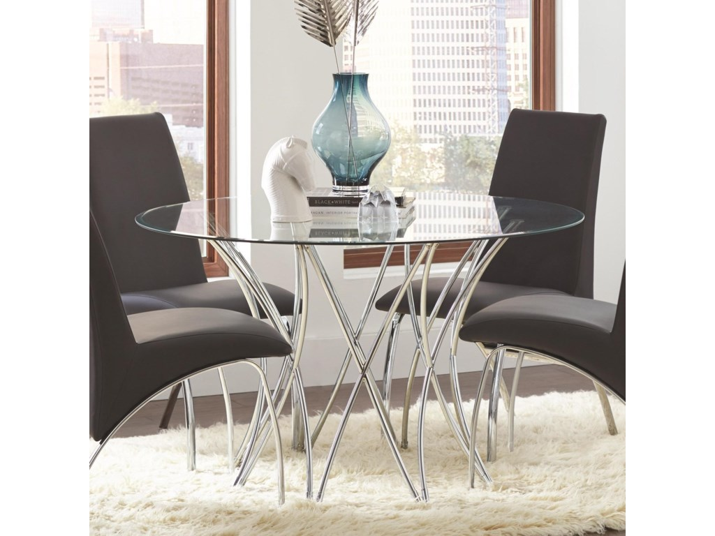Coaster Cabianca Contemporary Round Glass Dining Table ...