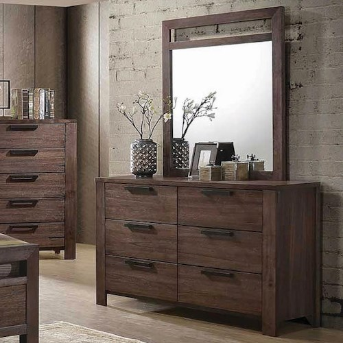 Coaster Caila Transitional 6 Drawer Dresser and Mirror