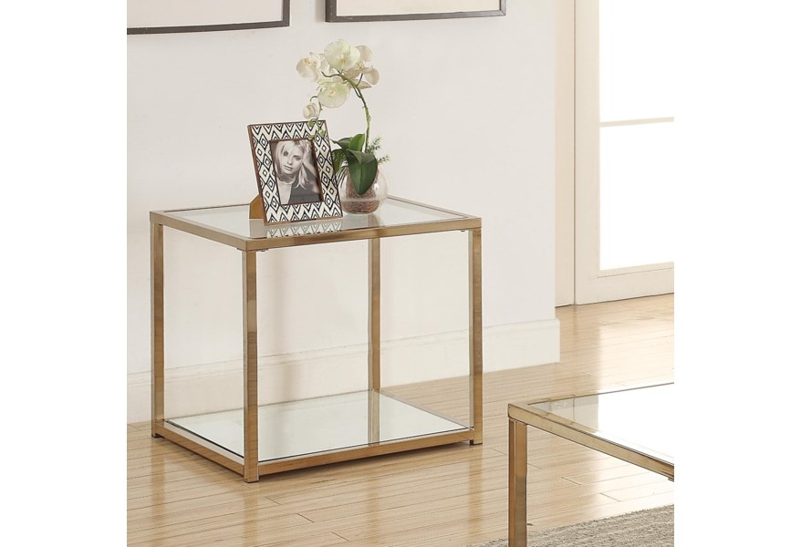 Coaster Calantha End Table With Mirror Shelf Rife S Home