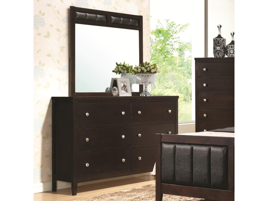 Coaster Carlton 6 Drawer Dresser And Upholstered Mirror A1