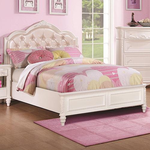Coaster Caroline Twin Size Bed and Diamond Tufted Headboard
