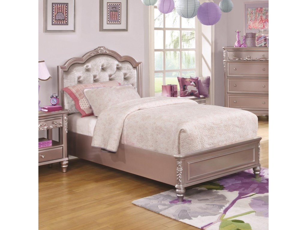 Coaster Caroline 400890T Twin Size Bed and Diamond Tufted
