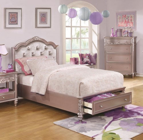 Coaster Caroline Queen Size Storage Bed with Diamond Tufted Headboard