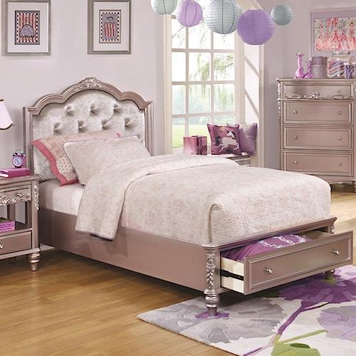 Coaster Caroline Twin Size Storage Bed with Diamond Tufted Headboard ...