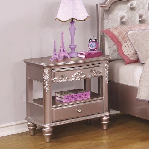 Coaster Caroline Night Stand with Rosette Knobs