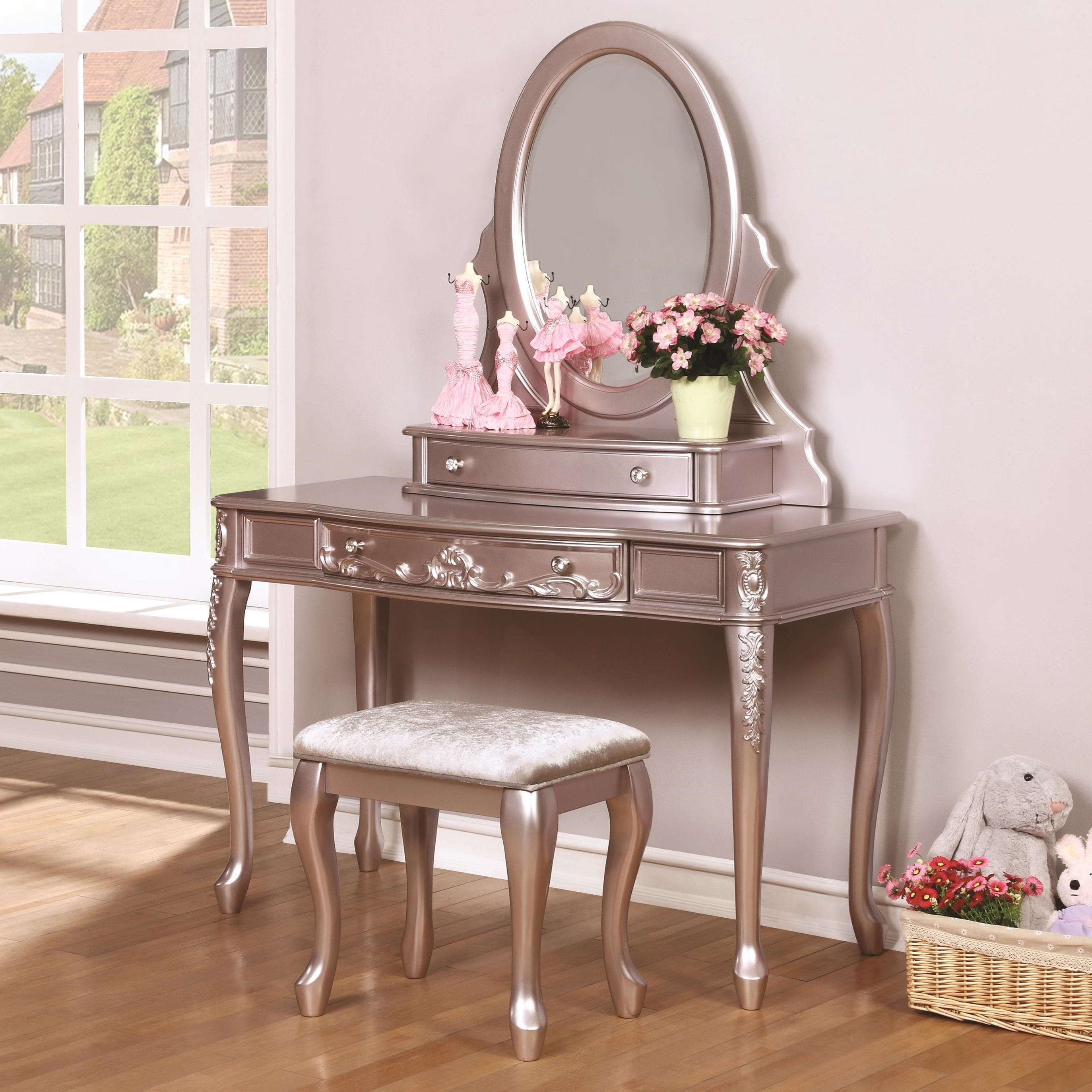 Coaster Caroline Vanity Desk And Mirror With Cabriole Legs