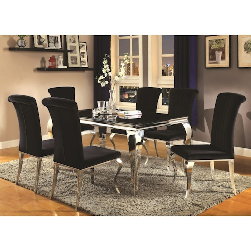 Coaster Carone Contemporary Glam Dining Room Set with Upholstered ...