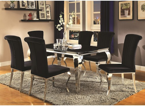 Coaster Carone Contemporary Glam Dining Room Set with Upholstered Chairs