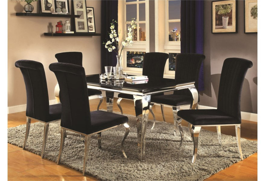 Carone Contemporary Glam Dining Room Set with Upholstered Chairs by Coaster  at Standard Furniture