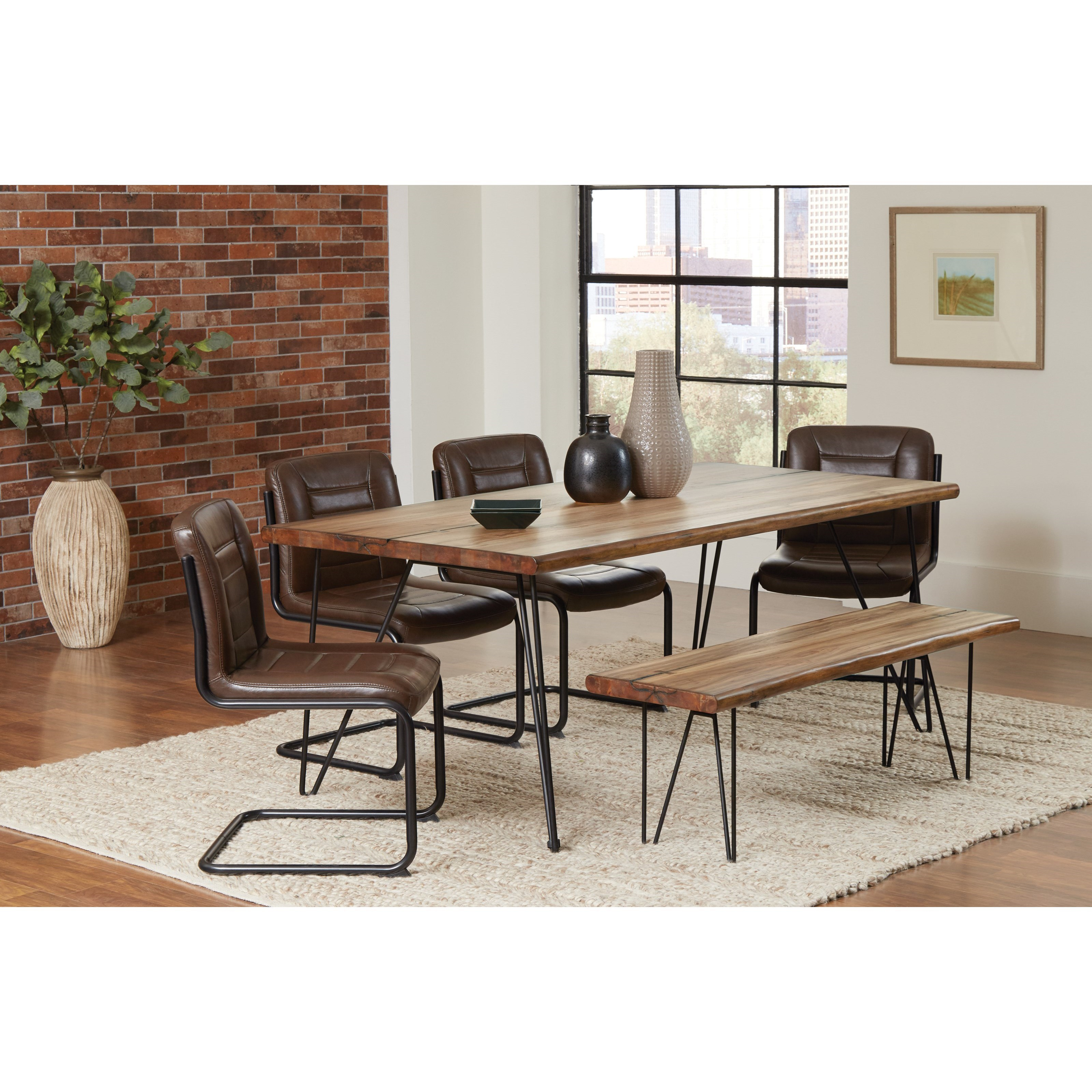 Coaster Chambler Vintage Dining Set With Bench   Dunk U0026 Bright Furniture    Table U0026 Chair Set With Bench