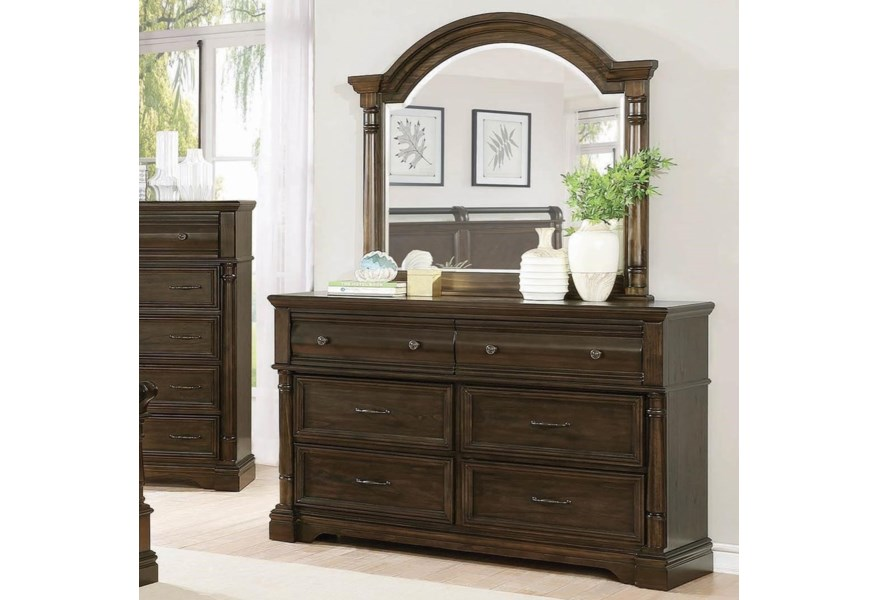 Chandler Traditional 6 Drawer Dresser And Arched Mirror Combo By Coaster At Dunk Bright Furniture