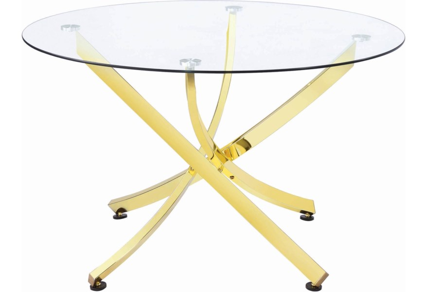 Chanel Glam Round Dining Table With Gold Colored Legs By Coaster At Dunk Bright Furniture