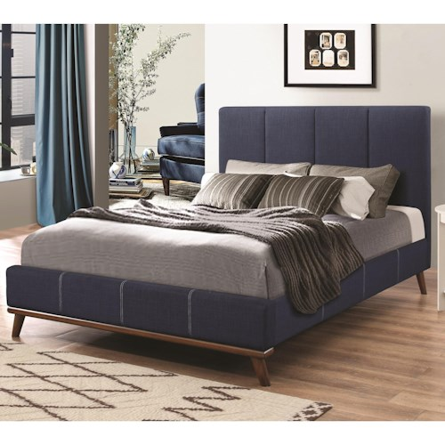 Coaster Charity Full Bed with Channeled Blue Upholstery