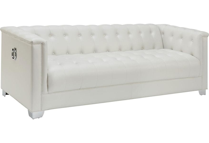 Low Profile Pearl White Tufted Sofa