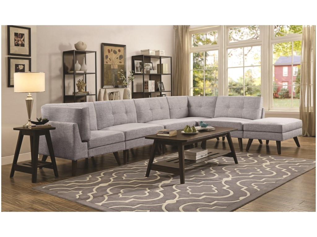 Coaster churchill mid century modern 4 seat sectional with button tufted cushions dunk bright furniture sectional sofas