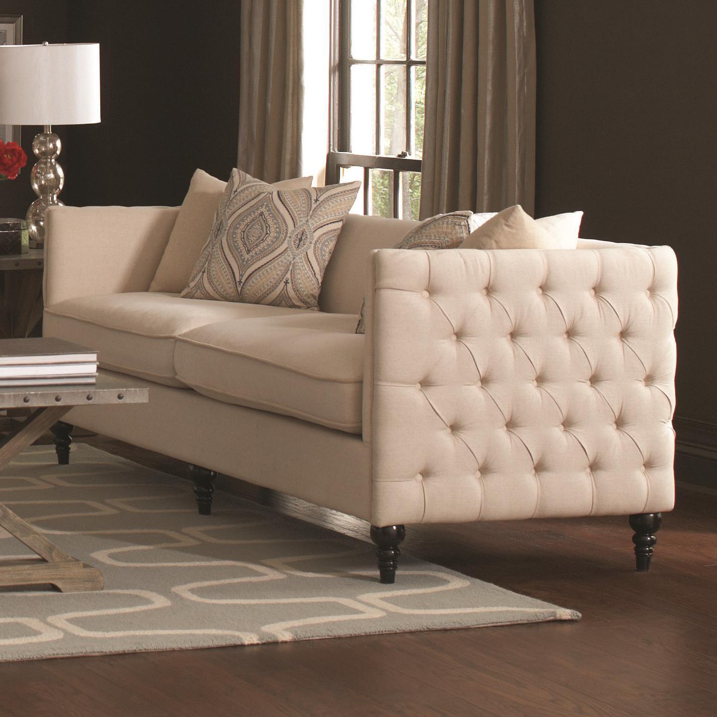 Bon Coaster Claxton Traditional Tuxedo Sofa With Tufting | Value City Furniture  | Sofas