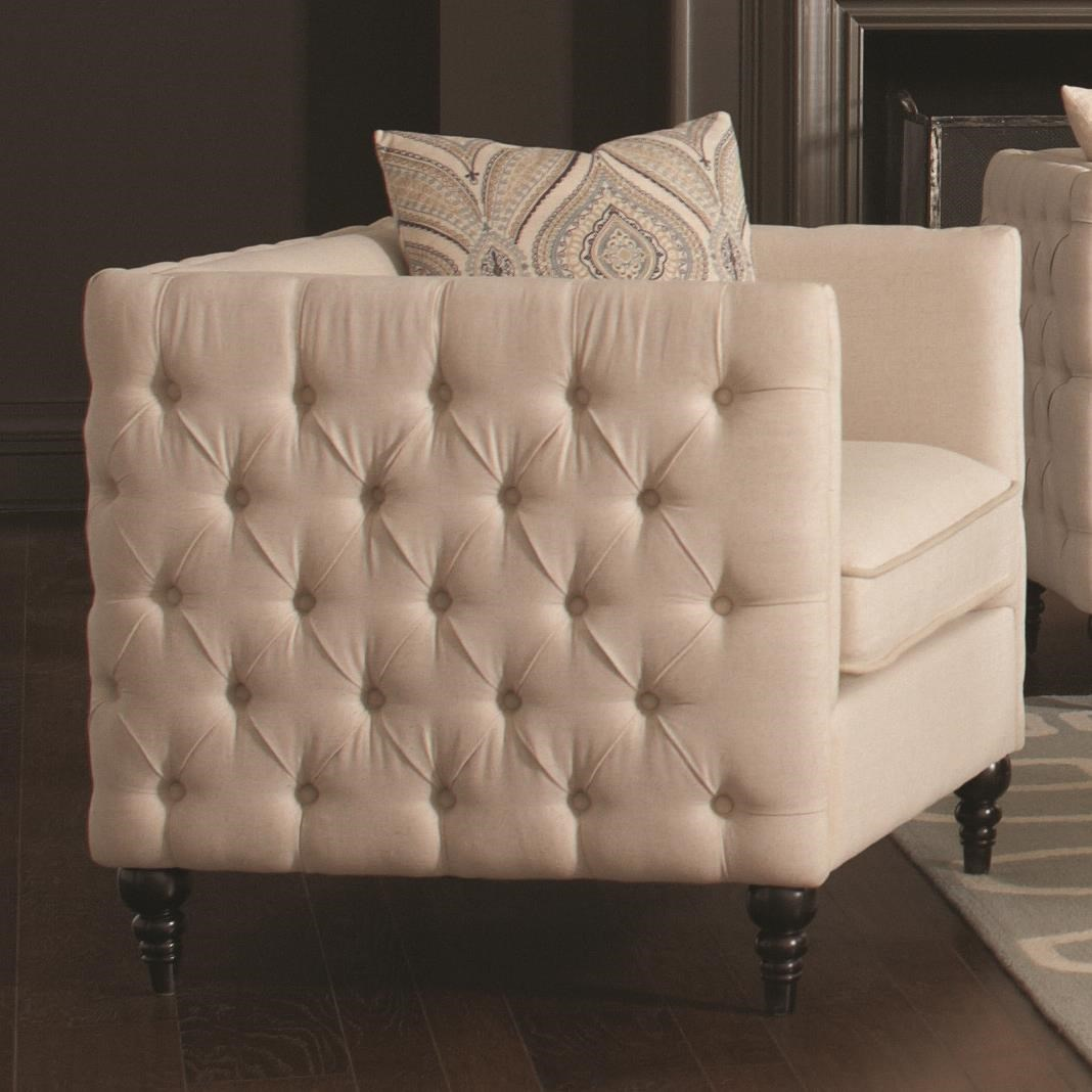 Coaster Claxton Traditional Tuxedo Chair With Tufting | Prime Brothers  Furniture | Upholstered Chairs