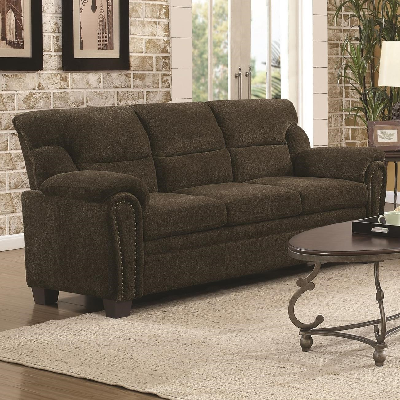 Casual Padded Sofa with Nail Heads