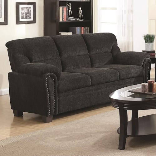 Coaster Clemintine by Coaster Casual Padded Sofa with Nail Heads