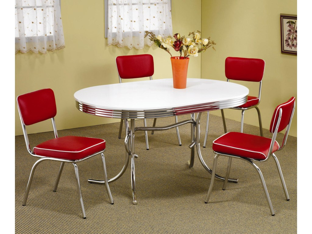 2548a37c77 Coaster Cleveland 5 Piece Chrome Plated Dining Set | Dunk & Bright ...