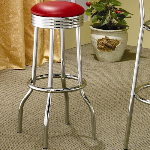 Coaster Cleveland Chrome Plated Soda Fountain Bar Stool