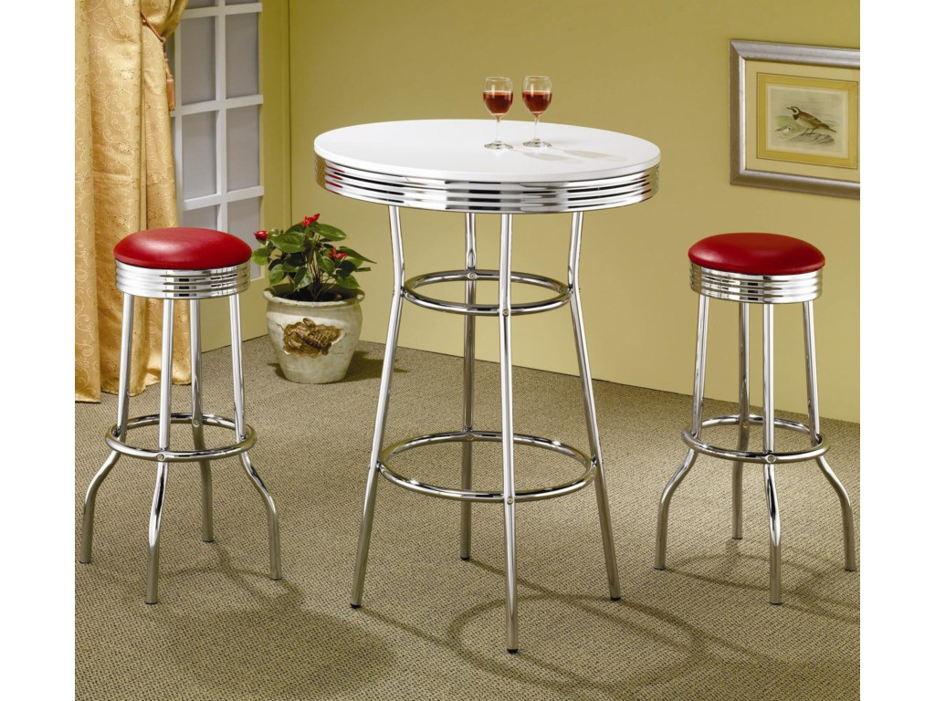 White Bar Table Shown with Red Bar Stools