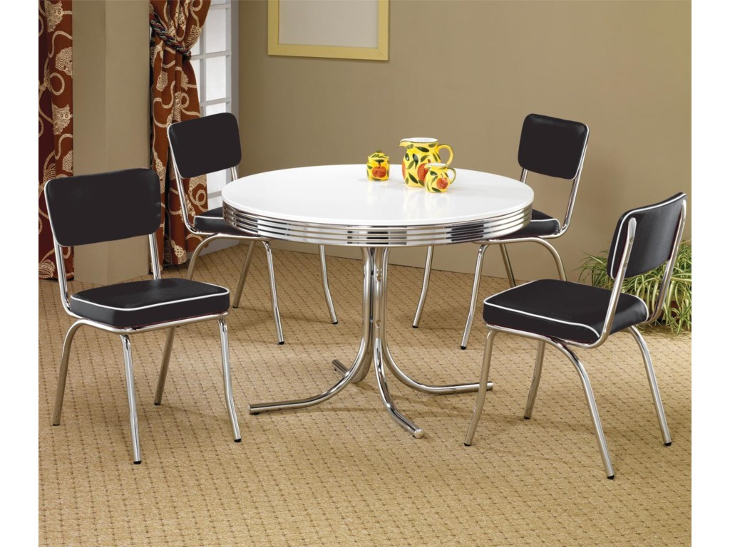 ccf05d73a0 Coaster Cleveland 5 Piece Round Dining Table & Upholstered Chairs ...