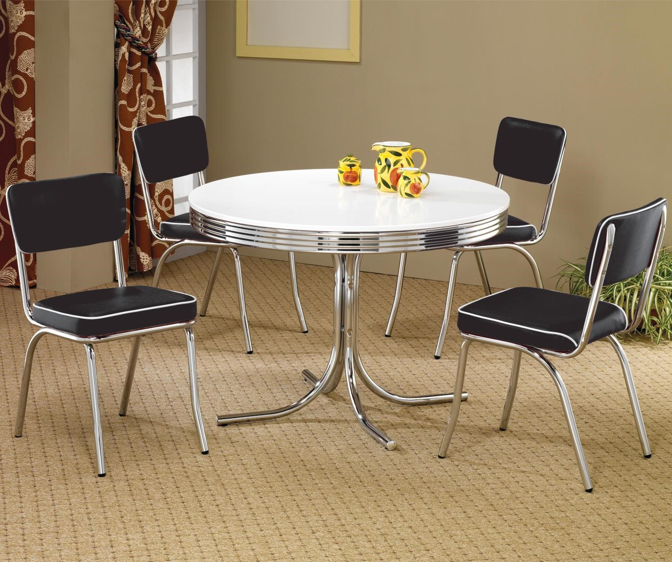 Coaster Cleveland 5 Piece Round Dining Table U0026 Upholstered Chairs