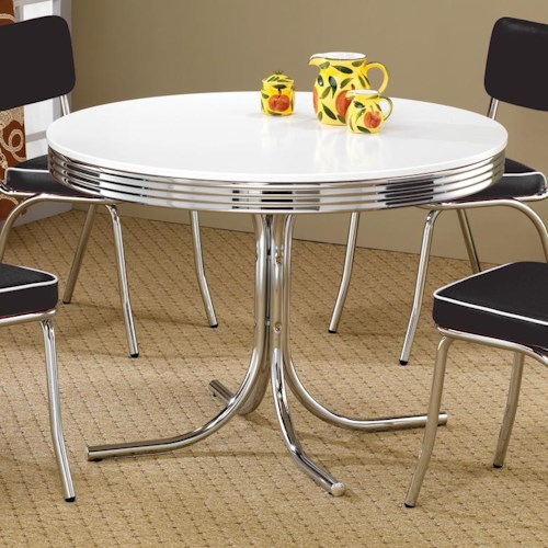 Coaster Cleveland Round Chrome Plated Dining Table