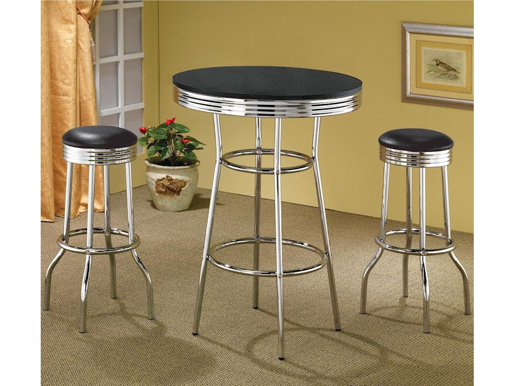 Black Bar Table Shown with Black Bar Stools