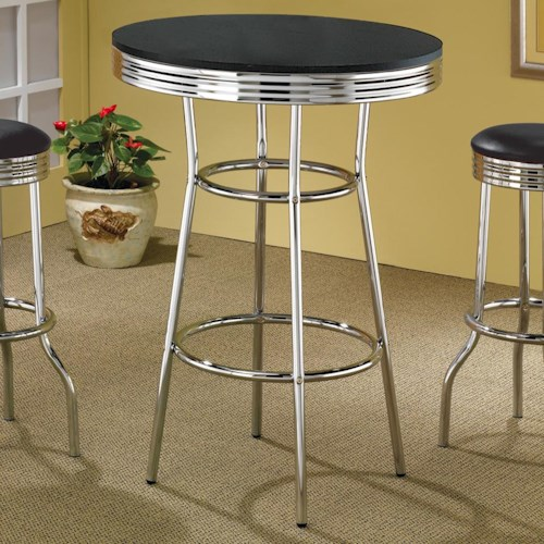 Coaster Cleveland 50's Soda Fountain Bar Table with Black Top