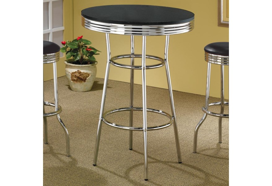 Cleveland 50 S Soda Fountain Bar Table With Black Top By Coaster At Dunk Bright Furniture
